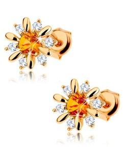 Bijuterii eshop - Cercei din aur 375 - floare deschis? cu citrin galban în mijloc, zirconii transparente GG63.21