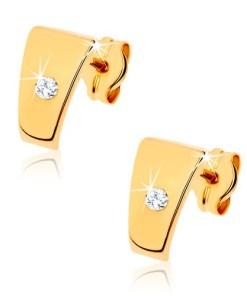 Bijuterii eshop - Cercei din aur 375 - trapeze lucioasa cu zirconiu transparent în mijloc GG40.06