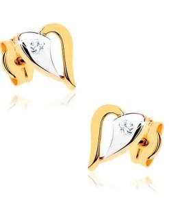 Bijuterii eshop - Cercei din aur 9K - contur de inima stralucitoare în doua cusori, piatra transparent? GG40.05