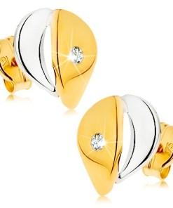 Bijuterii eshop - Cercei din aur 9k - pic?tur? mai lat? cu zirconiu transparent, în doua cusori GG42.06