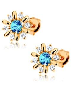 Bijuterii eshop - Cercei din aur galban 9K - floare decorat? cu topaz albastru si zirconii transparente GG63.20