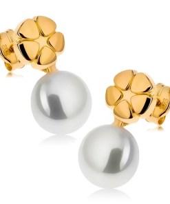 Bijuterii eshop - Cercei din aur galban 9K, floare lucioasa gravata, perla alba GG43.08