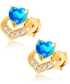 Bijuterii eshop - Cercei din aur galban 9K - topaz albastru în forma de inima, contur de inima stralucitor GG62.19