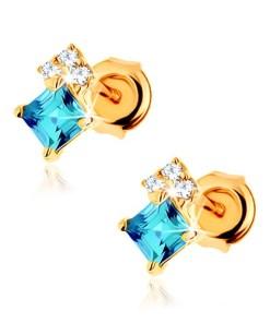 Bijuterii eshop - Cercei din aur galban 9K, topaz albastru, zirconii transparente GG61.25