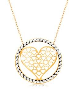 Bijuterii eshop - Colier realizatadin aur 375 - Lant compus din zale ovale,inima decupat? în cerc GG194.33