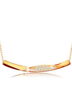 Bijuterii eshop - Colier realizatadin aur de 9K -Lant compus din zale ovale,linie lucioasa cu zirconii GG194.52