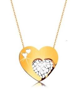 Bijuterii eshop - Colier realizatadin aur de 9K - Lant subtire,inima mare decorat? cu decupaje în forma de inima mic? GG194.19