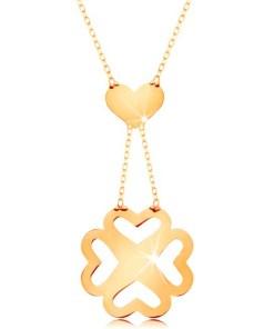 Bijuterii eshop - Colier realizatadin aur galban 585 - Lant subtire, inima si trifoi cu patru foi decupat GG160.05