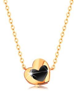 Bijuterii eshop - Colier realizatadin aur galban de 14K -  inima lucioasa cu email negru, Lant GG139.09