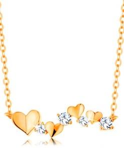 Bijuterii eshop - Colier realizatadin aur galban de 14K - inima si zirconii transparente, Lant subtire GG139.02