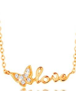 Bijuterii eshop - Colier stralucitor din aur 585 - Lant cu zale ovale, fluture si inscrip?ia love GG139.22