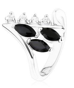 Bijuterii eshop - Inel argintiu, brate cu capete îndoite, zirconii negre si transparente R41.6 - Marime inel: 49