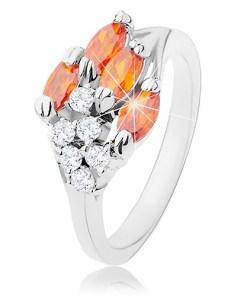 Bijuterii eshop - Inel argintiu, zirconii bobi?e portocalii, zirconii transparente R41.25 - Marime inel: 52