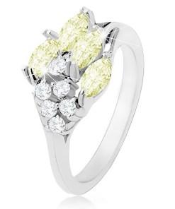 Bijuterii eshop - Inel argintiu, zirconii stralucitoare transparente si verde deschis R31.14 - Marime inel: 50