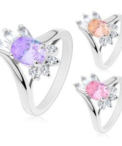 Bijuterii eshop - Inel argintiu, zirconiu mare oval, zirconii alungita si rotunda M06.11 - Marime inel: 48, Culoare: Roz