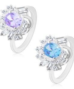 Bijuterii eshop - Inel argintiu, zirconiu mare oval, zirconii rotunda si alungita M05.07 - Marime inel: 50, Culoare: Mov Deschis