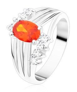 Bijuterii eshop - Inel argintiu, zirconiu oval portocaliu, benzi lucioasa, zirconii transparente S15.03 - Marime inel: 49