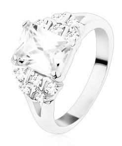Bijuterii eshop - Inel cu brate despicate,  zirconiu dreptunghiularatransparent, zirconii rotunda S21.06 - Marime inel: 49