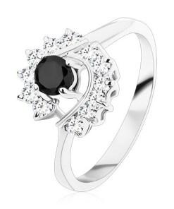 Bijuterii eshop - Inel cu brate ingustate, zirconiu negru rotunda larcade din zirconiu transparent S15.02 - Marime inel: 49