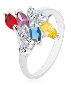 Bijuterii eshop - Inel cu brate lucioasa de culoare argintie, boabe colorate si zirconii transparente S19.09 - Marime inel: 54
