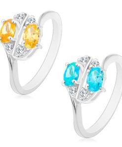 Bijuterii eshop - Inel cu brate lucioasa, decorate cu zirconii ovale colorate si transparente R48.20 - Marime inel: 53, Culoare: albastru - Transparent
