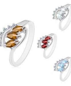 Bijuterii eshop - Inel cu brate lucioasa, îndoite, trei zirconii colorate în forma de bob M07.17 - Marime inel: 48, Culoare: Maro