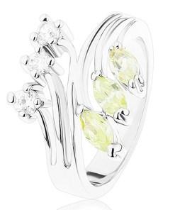 Bijuterii eshop - Inel cu brate lucioasa ramificate, zirconii transparente si verde deschis R41.21 - Marime inel: 49