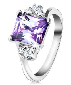 Bijuterii eshop - Inel cu brate lucioasa si zirconiu dreptunghiularade culoare violet deschis R44.17 - Marime inel: 48