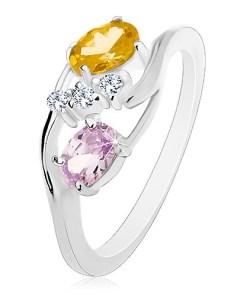 Bijuterii eshop - Inel cu brate neteda curbate, ovale galban-verziu si violet deschis, zirconii transparente R48.15 - Marime inel: 57