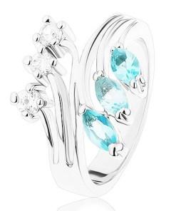 Bijuterii eshop - Inel cu brate ramificate, zirconii transparente si albastru deschis R41.15 - Marime inel: 55