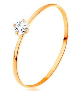 Bijuterii eshop - Inel cu diamant din aur galban de 14K - brate subtiri, diamant rotundasi transparent BT500.53/59 - Marime inel: 60