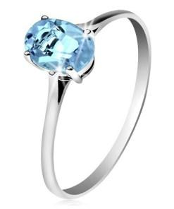 Bijuterii eshop - Inel din aur 585, cu topaz oval, albastru, brate subtiri  GG204.52/59 - Marime inel: 49