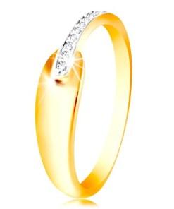 Bijuterii eshop - Inel din aur 585 - lacrim? stralucitoare rotunjita si linie de zirconii GG215.87/94 - Marime inel: 48