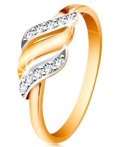Bijuterii eshop - Inel din aur 585 - trei valuri din aur albasi galban, zirconiu transparent GG190.48/55 - Marime inel: 49
