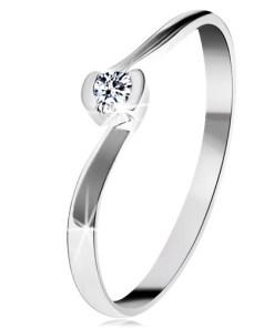 Bijuterii eshop - Inel din aur alba14K - extremit??i ondulate, zirconiu rotundatransparent GG203.09/16 - Marime inel: 48