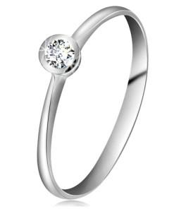Bijuterii eshop - Inel din aur alba14K - zirconiu transparent în montur? lucioasa, brate ingusta GG202.46/54 - Marime inel: 49