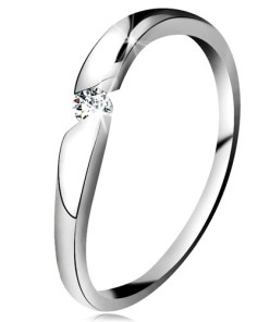 Bijuterii eshop - Inel din aur albade 14K - zirconiu rotundasi transparent în decupaj diagonal GG203.43/48 - Marime inel: 49
