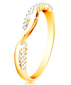 Bijuterii eshop - Inel din aur de 14 K - doua valuri subtiri, neteda si zirconiu GG215.01/07 - Marime inel: 49