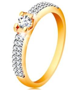 Bijuterii eshop - Inel din aur de 14K  - brate lucioasa, zirconiu  în montur?  GG197.07/14 - Marime inel: 49