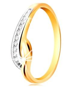 Bijuterii eshop - Inel din aur de 14K - brate ondulate, bicolore, band? din zirconii transparente si crest?tur? GG196.01/07 - Marime inel: 49