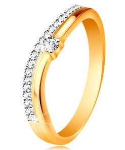 Bijuterii eshop - Inel din aur de 14K, brate ondulate cu decupaj în mijloc si zirconii transparente GG190.81/87 - Marime inel: 49