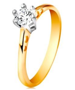 Bijuterii eshop - Inel din aur de 14K - decupaje rotunda pe brate, zirconiu în montur? din aur alba GG197.22/28 - Marime inel: 49