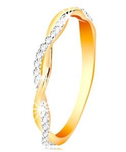 Bijuterii eshop - Inel din aur de 14K - doua onduleuri subtiri, împletite - onduleu lucios cu zirconii GG201.59/65 - Marime inel: 49