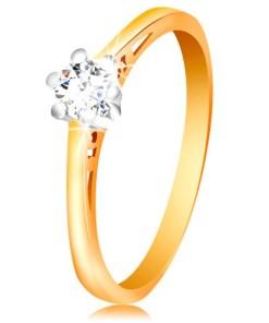 Bijuterii eshop - Inel din aur de 14K - zirconiu  în montur? din aur alba decupaje pe brate GG200.36/44 - Marime inel: 52