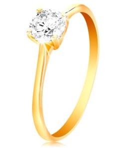 Bijuterii eshop - Inel din aur galban 14K - zirconiu stralucitor transparent în montur? lucioasa proeminent? GG201.52/58 - Marime inel: 52