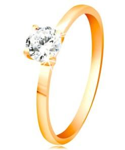 Bijuterii eshop - Inel din aur galban 14K - zirconiu transparent, lucios în montur? lucioasa proeminent? GG57.17/24 - Marime inel: 49