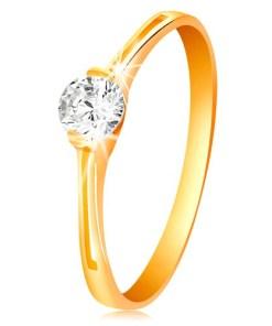 Bijuterii eshop - Inel din aur galban 585 - zirconiu transparent în montur?, decupaje GG200.16/22 - Marime inel: 50