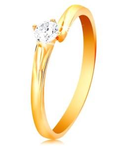 Bijuterii eshop - Inel din aur galban de 14K- zirconiu transparent si stralucitor, în montur? lucioasa GG201.31/37 - Marime inel: 49