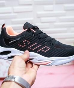 Pantofi dama sport textil negri cu roz Pafaria