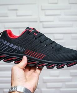 Pantofi sport barbati textil negri cu rosu Ialinu